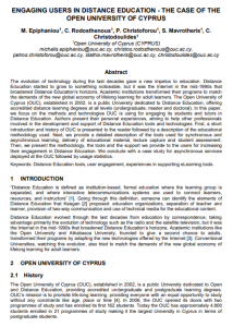 Engaging users in distance education – The case of the Open University of Cyprus