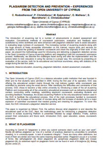 Plagiarism Detection and Prevention – Experiences From the Open University of Cyprus
