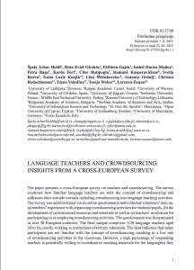Language Teachers and Crowdsourcing: Insights from a Cross-European Survey.